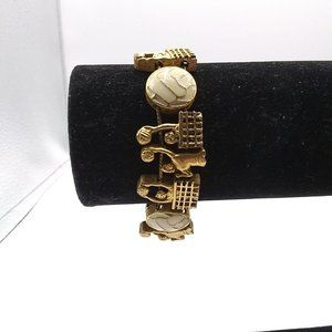 Gold Tone Enamel Volleyball Charms Slide Bracelet